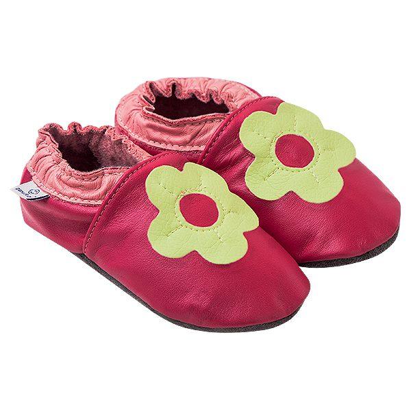 Kapcie dla dzieci – Paputki Ciemny róż z seledynowym kwiatkiem L