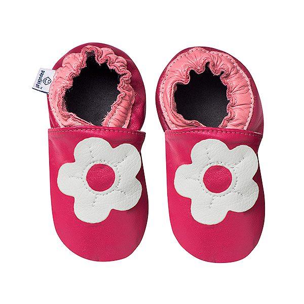 Kapcie skórzane różowe z kwiatkiem dla dziewczynki