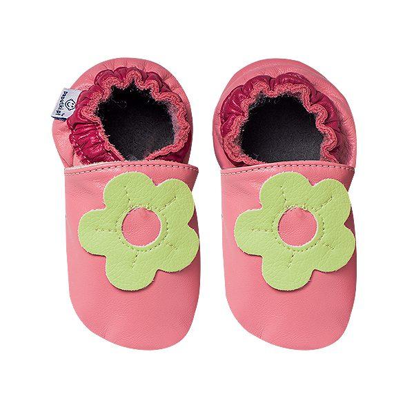 Skórzane kapcie dla dziewczynki różowe