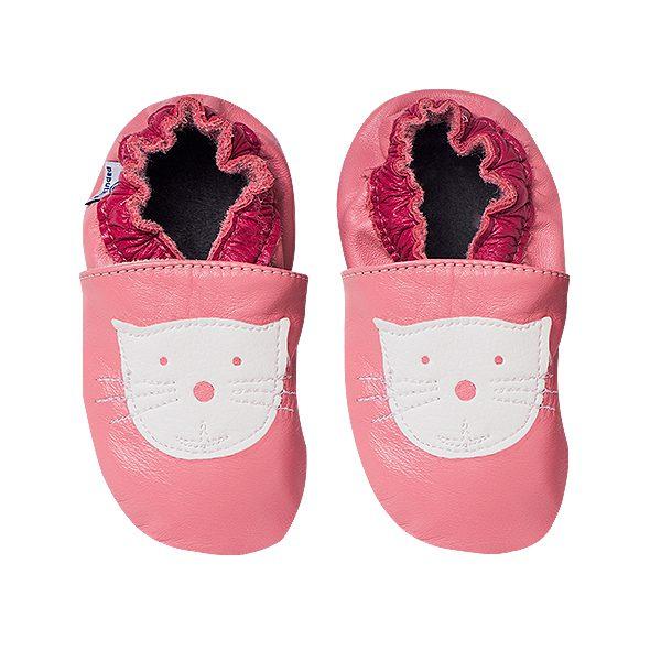 Kapcie dla dzieci – Paputki Jasny róż z kotkiem L