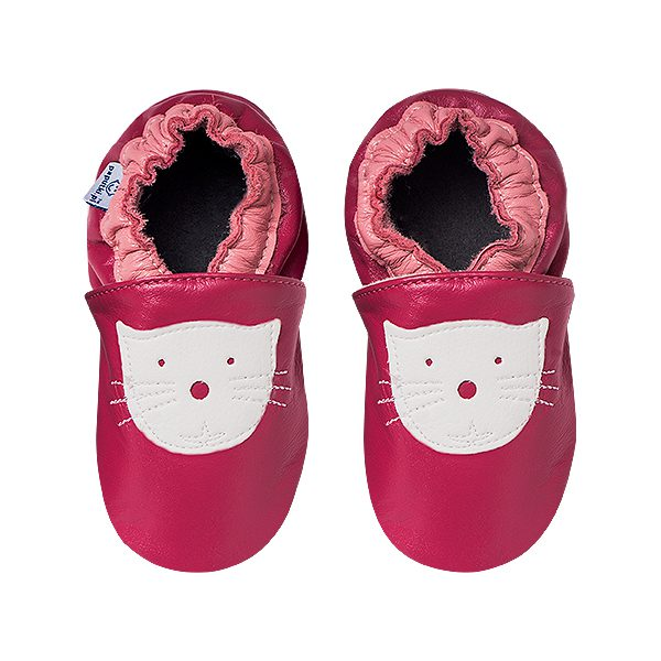 Kapcie dla dzieci – Paputki Ciemny róż z białym kotkiem L