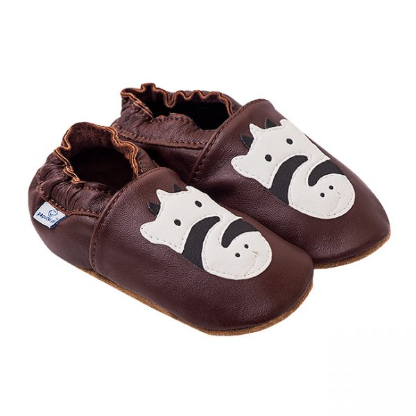 Kapcie dla dzieci – Paputki Czekoladowy brąz z zebrą L