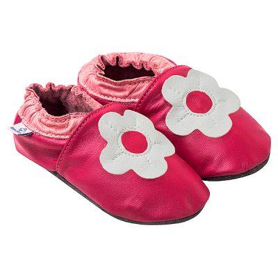 Kapcie dla dzieci – Paputki Ciemny róż z białym kwiatkiem M