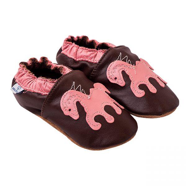 Kapcie dla dzieci – Paputki Czekoladowy brąz z konikiem pony S