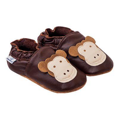 Kapcie dla dzieci – Paputki Czekoladowy brąz z małpką XL
