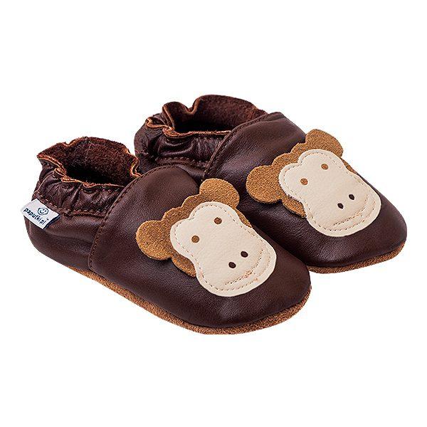 Kapcie dla dzieci – Paputki Czekoladowy brąz z małpką S