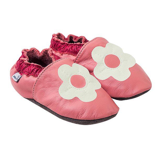 Kapcie dla dzieci – Paputki Jasny róż z białym kwiatkiem S