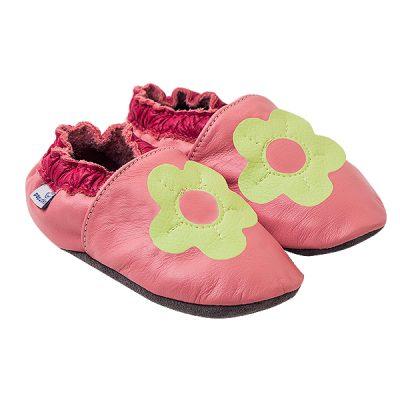 Kapcie dla dzieci – Paputki Jasny róż z seledynowym kwiatkiem XS