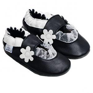 paputki czarno-białe balerinki