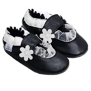 Kapcie dla dzieci – Paputki Czarno-białe balerinki XS