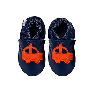 Kapcie dla dzieci – Paputki Granat z pomarańczowym autkiem S