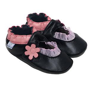 Kapcie dla dzieci – Paputki Czarno-różowe balerinki XS