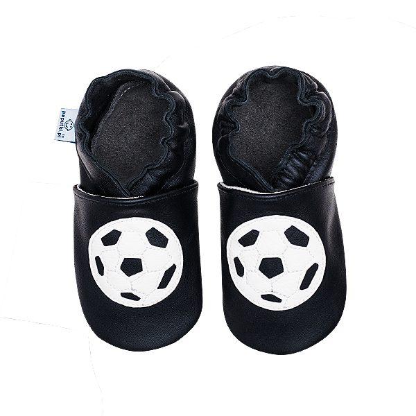 Czarne paputki dla dzieci z piłką