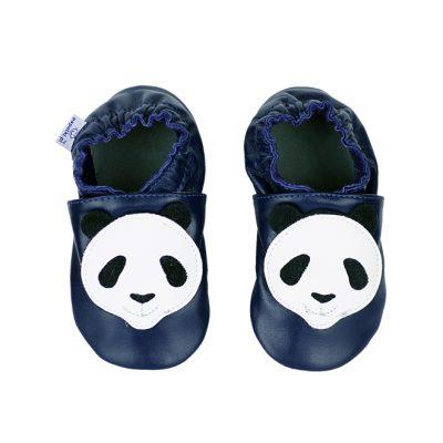 skórzane paputki, kapcie dla dzieci, skórzane kapcie dla dzieci granatowe z pandą