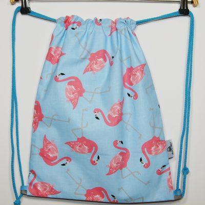 Worek – plecak na buty Niebieski z flamingami