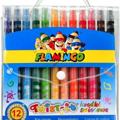 Flamingo Kredki świecowe Twist-it 12 kolorów wykręcane