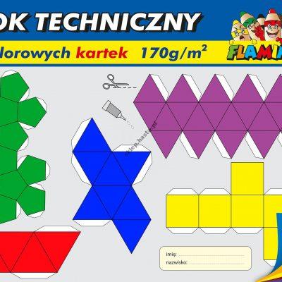 Blok techniczny kolorowy Flamingo 10 kartek A4