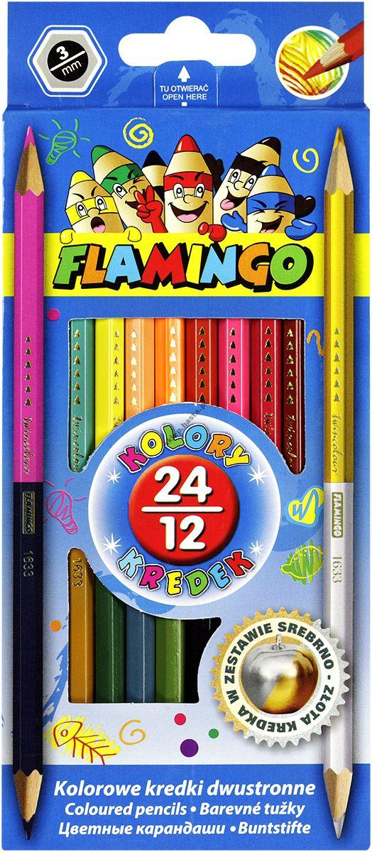 Kredki ołówkowe Flamingo dwustronne 24 kolory sześciokątne