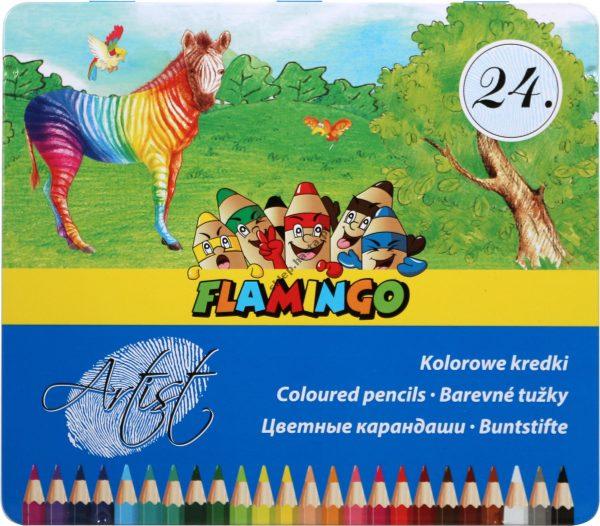Kredki ołówkowe Artist Flamingo 24 kolory sześciokątne w metalowym pudełku