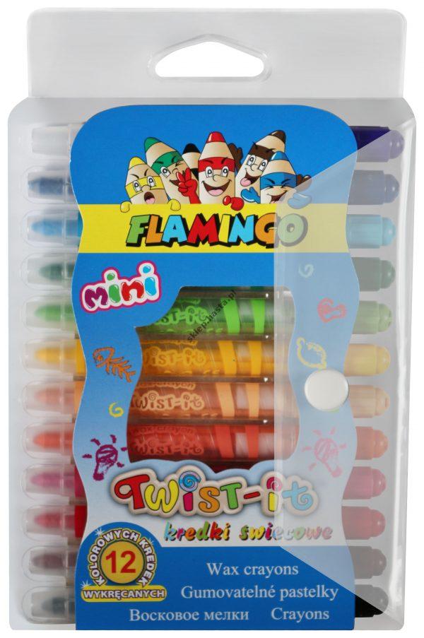 Kredki świecowe Twist-it Mini Flamingo 12 kolorów wykręcane