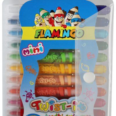 Kredki świecowe twist-it Mini 12 kolorów Flamingo