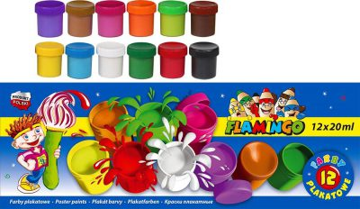 Farby plakatowe 12 kolorów Flamingo