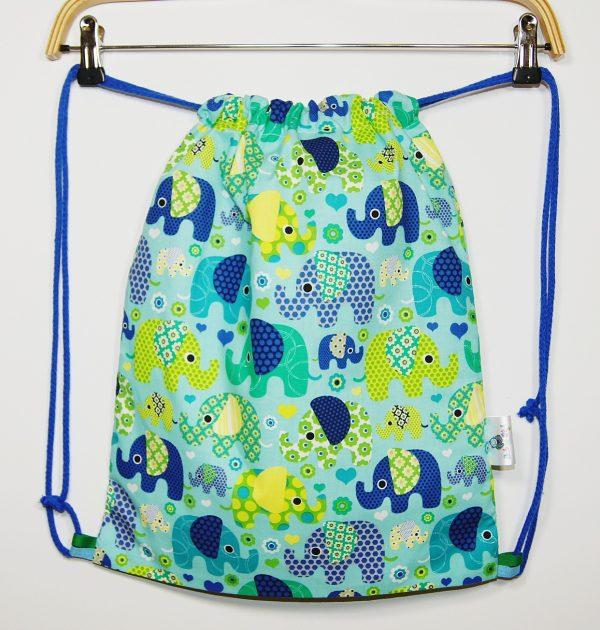 worek plecak na buty z niebieskimi słoniami