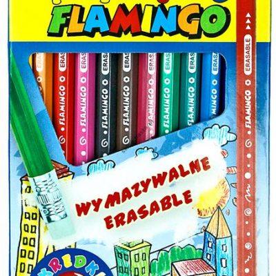 Kredki ołówkowe Flamingo 12 kolorów z gumką