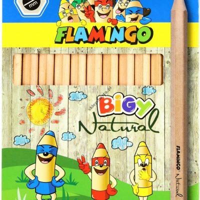 Kredki ołówkowe Flamingo Jumbo Natural 12 kolorów
