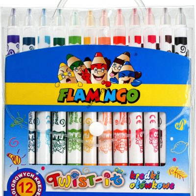 Kredki ołówkowe Twist-it Flamingo 12 kolorów wykręcane