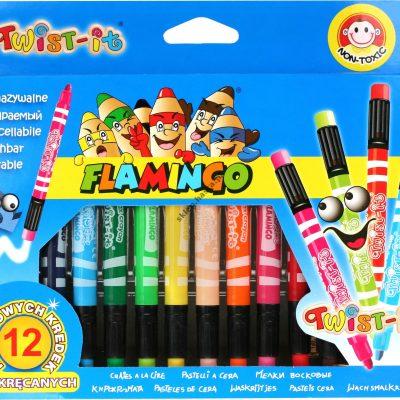 Kredki świecowe Twist-it Flamingo 12 kolorów wykręcane z gumką do wymazywania