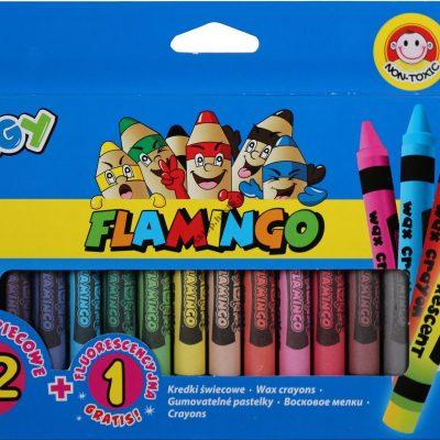 Kredki świecowe Bigy Flamingo 12 kolorów+1 fluo Jumbo