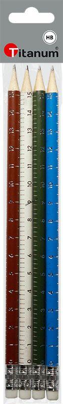 Ołówek Titanum z gumką metalizowany linijka (T-OŁ-MET-L4)