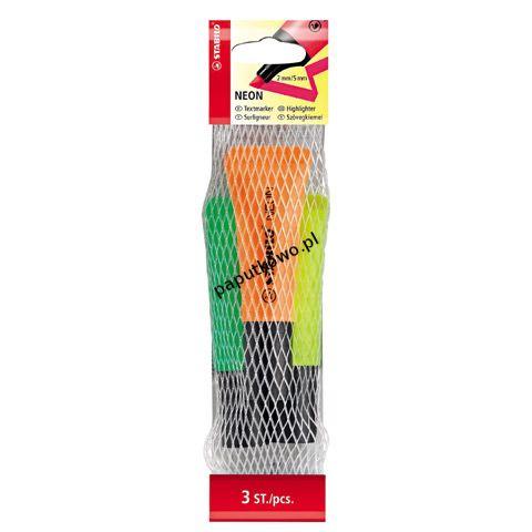 Zakreślacz Stabilo Neon komplet 3 sztuki, mix wkład 2,0-5,0 mm (72/3-2)
