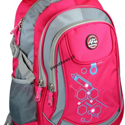 Plecak ARE 450x320x150 mm szaro-różowy (PL-1604)