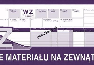 Druk samokopiujący Michalczyk i Prokop WZ wydanie materiału na zewnątrz 1/2 A4 80k. (361-0)