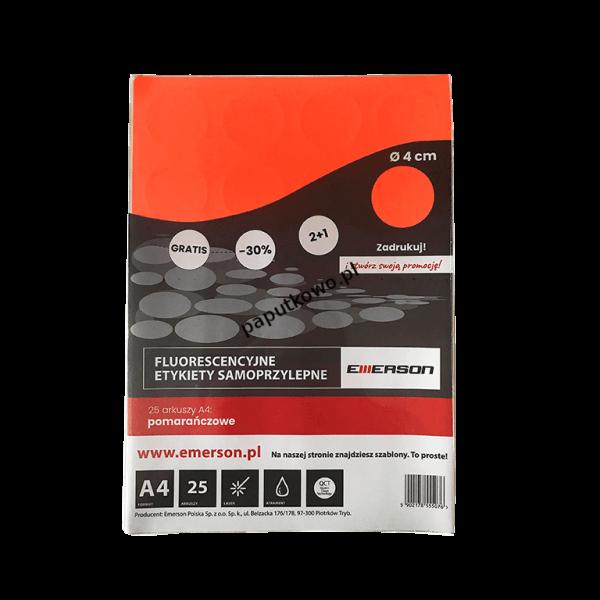 Etykieta samoprzylepna Emerson kółka 40 mm A4 - pomarańczowy śr. 40 mm (ETOKPOM02x025x010)