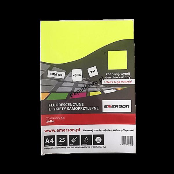 Etykieta samoprzylepna Emerson kolorowy A4 - żółty fluorescencyjny (ETOKZOL001x025x010)