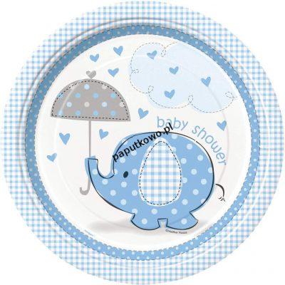 Talerz jednorazowy słonik niebieski baby shower śr. 230 mm (41695)
