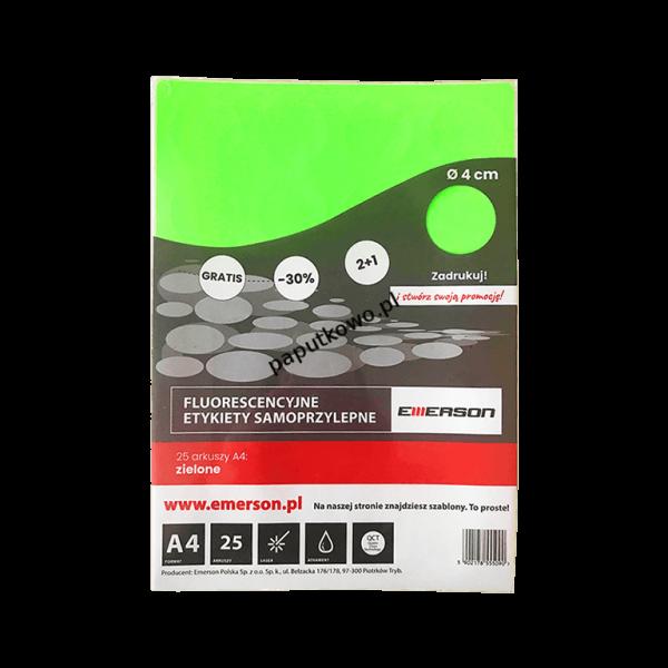 Etykieta samoprzylepna Emerson kółka 40 mm A4 - zielony śr. 40 mm (ETOKZIE02x025x010)