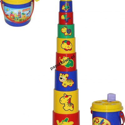 Zabawka edukacyjna Wader ciekawa piramidka nr 3 16 elementów w siatce (52605)