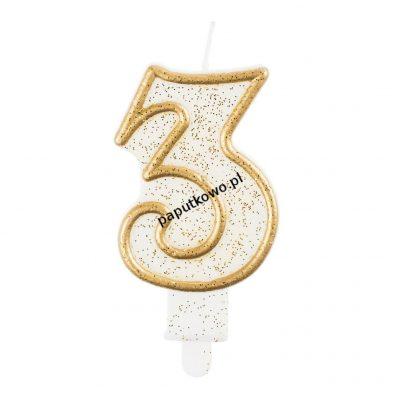 Świeczka urodzinowa Godan cyferka złota 3 (pf-sczk3)