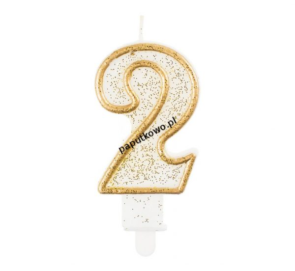 Świeczka urodzinowa Godan cyferka złota 2 (pf-sczk2)