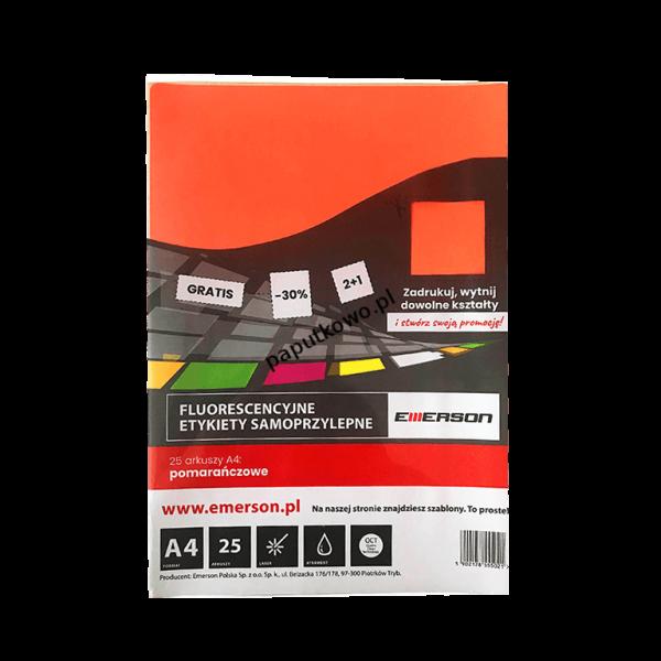 Etykieta samoprzylepna Emerson etykiety A4 - pomarańczowy (ETOKPOM001x025x010)