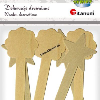 Ozdoba drewniana Titanum Craft-fun Craft-Fun Series patyczki z dekoracją naturalna 6 szt (17504A)